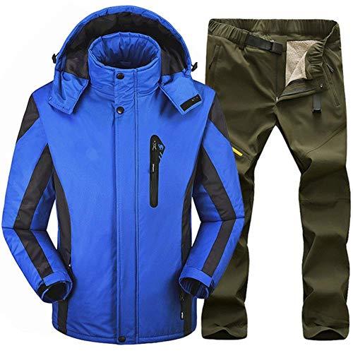 Ski Suit Tuta da Sci Uomo Inverno Giacche E Pantaloni Impermeabili Antivento Caldi Attrezzatura da Sci Giacca da Snowboard Uomo Blu Verde Militare XXL