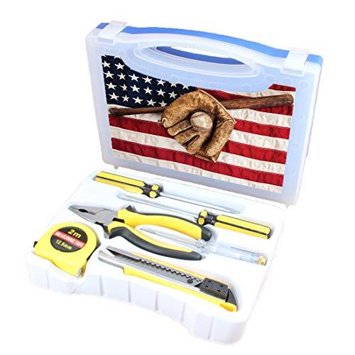 Handliches Werkzeugset Kombination Haushalt Sport Grundlegende DIY-Handwerkzeugkiste Mit Schraubendreher, Zange, Maßband, Teststift, Schneidewerkzeug, Vintage Baseball League-Ausrüstung mit US-amerika (Baseball-maßband)