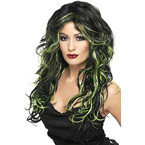Perruque gothique verte-noire perruque féminine perruques Halloween perruque aux cheveux longs perruque de carnaval perruque d'Halloween