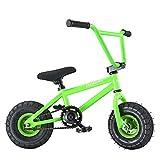 AnaellePandamoto Mini Vélo BMX Freestyle avec 3 Pièces Manivelle de 10 Pouce, Selle avec Hauteur Réglable pour Adulte, Taille: 79*73*69cm, Poids: 11kg (Vert)
