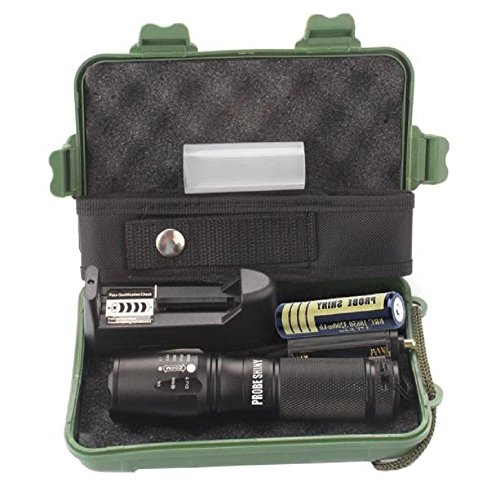 WINWINTOM X800 Zoomable XML T6 LED Tactical Police Flashlight + 18650 Battery + Caso,Sezione (Titolare Maglite)