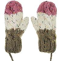 Collo Hanging Guanti, nuovo inverno caldo multicolore su un filo donne ragazze e ragazzi in pile cavo Full Finger guanti all' uncinetto con filo/cavo, regalo di natale, Pink & Brown, Taglia da dulto