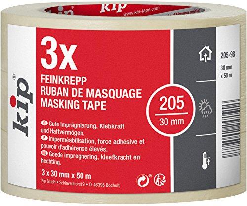 Kip Malerkrepp 205-98 3er Pack Klebeband zum lackieren und abdecken 30mm x 50m