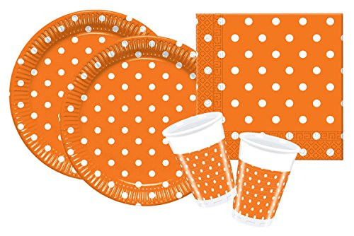 Procos 10105482 Partyset Orange Dots, Größe S Orange Teller Set