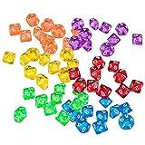 Sharplace 60er-Set Acryl 10-Seitig D10 Dice Würfel Spielwürfel für Brettspiel Kartenspiel -Bunt
