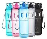 Super Sparrow Trinkflasche - Sports Wasserflasche - 500ml &1000ml - Eco Friendly & BPA-freiem Kunststoff - Ideale Sportflasche - für das Laufen, Fitness, Yoga, Im Freien und Camping - Schnelle Wasserdurchfluss , Flip Top, öffnet sich mit 1-Click - Wiederverwendbare mit dicht schließendem Deckel (Blau, 1000ml-32oz)