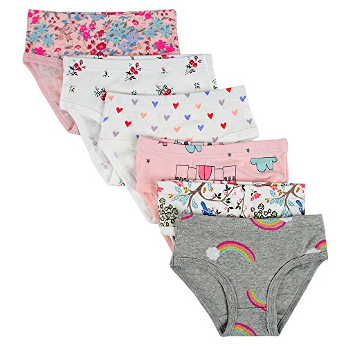 Kidear Kids Series Soft Cotton Baby Panties Little Girls' Assorted Briefs(Pack of 6)