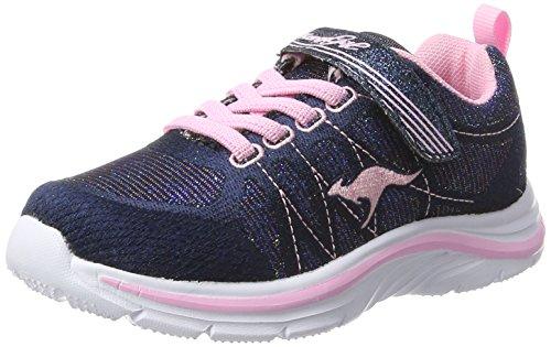 KangaROOS Unisex-Kinder KangaGirl Sneaker, Blau (Metallic Blue/Frost Pink), 38 EU