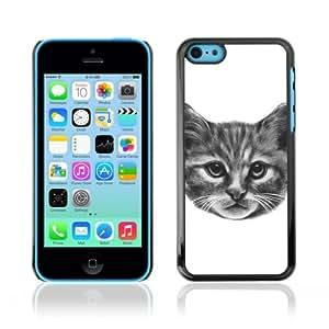 CaseCaptain Cas Coq Coquille Case Apple iPhone 5C / Kitty cat Pencil Painting /