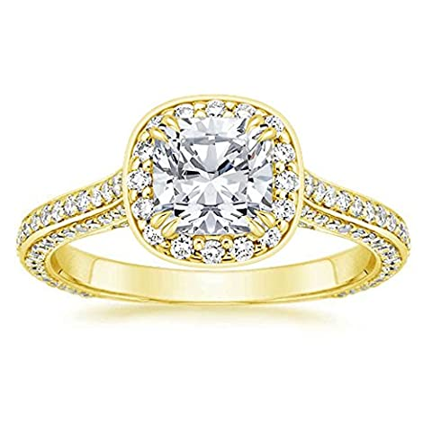 Solid 14K Yellow Gold Solitaire Rings BIS Hallmarked Gold Engagement Ring Color D Clarity VVS1 Diamond Round Cut 1.35Ct. Simulated Diamond Womens Wedding Band