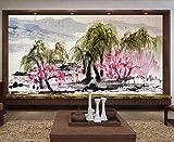 Fototapete 3D Wandbilder Hintergrund Der Wall Der Weiden, Blumen Und Vögel In Der Chinesischen Tinte Waschen Landschaft