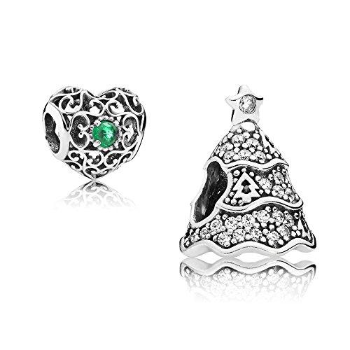 Original Pandora Geschenkset - 1 Silber Charm Pavé-Weihnachtsbaum 791765CZ und 1 Silber Charm Mai-Herz 791784NRG
