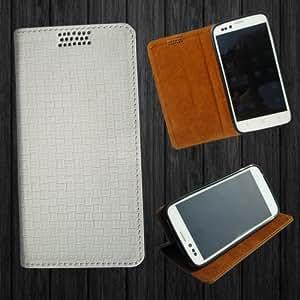 i-KitPit - New Design PU Leather Flip Case For Karbonn A6 (WHITE)