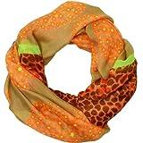 CASPAR Damen Loop/Schal/Schlauchschal mit Leo/Herzen/Blumen Print - viele Farben - SC287, Farbe:orange