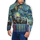 Photo de Ralapmill Étoile de Chicago Nuit Peinture à l'huile Art Print Hommes Hoodie Polaire Pull à Capuche Thermique Sweat à Capuche XL par Ralapmill