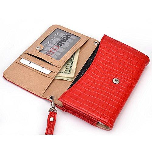 Kroo Lien de série universel femmes portefeuille Wristlet sac à bandoulière Compatible avec de nombreux 4à 12,7cm Étui pour Archos/Blackberry/Blu/Google/HTC Téléphone portable Multicolore - Noir/gri rouge - rouge