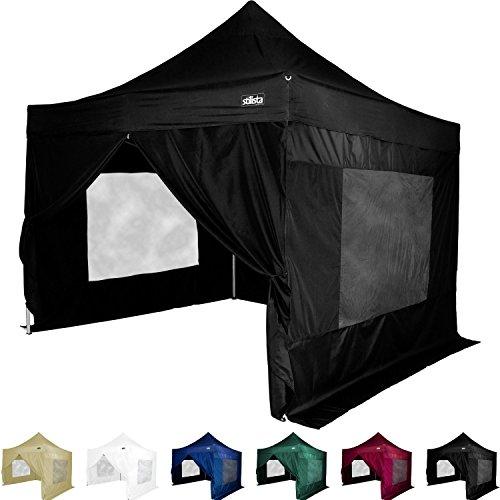 STILISTA® Faltpavillon 3x3m, 4 Seitenteile, schwarz, WASSERDICHT, versiegelte Nähte, EV1 Voll-Aluminium, Tragetasche