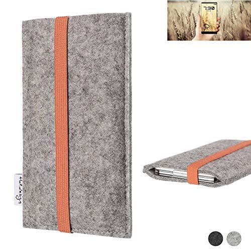 flat.design Handy Hülle Coimbra für Allview X4 Soul Infinity N - Schutz Case Tasche Filz Made in Germany hellgrau orange