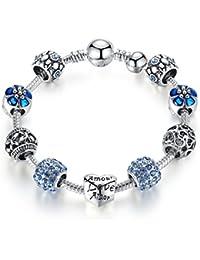 Pulsera Morsun con cuentas en forma de corazón, azul, joyería de moda, regalo para mujeres o niñas, azul, 18 centimetre