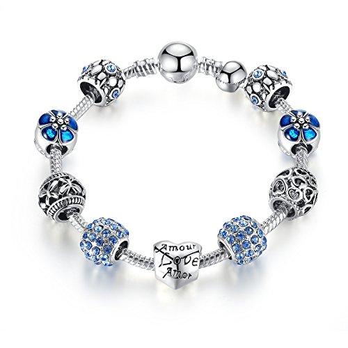 Pulsera Charms de Mujer Plateado de Plata con Azul Abalorio Murano Cristal Regalo para Mujer Niña Cumpleaños18 centimetre
