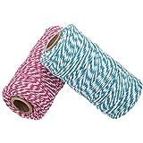 656 Pies de Algodón Baker's Twine Spool 10 Capas Artesanías Guita de Cuerda Para Manualidades de Bricolaje y Envoltura de Regalos (Rosa y Azul)