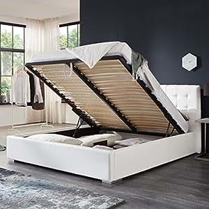 Bett mit Bettkasten Weiß Weiss Polsterbett Lattenrost