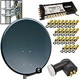 HD Digital Sat Anlage 80cm Schüssel Spiegel Antenne Stahl Anthrazit