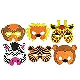 COM-FOUR® 6-teiliges Tiermaskenset, Löwe, Tiger, Giraffe, Zebra, Affe und Bär (06 Stück)