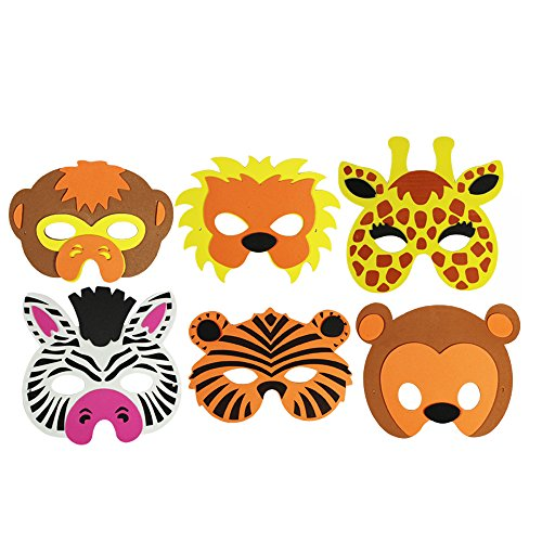 s Tiermaskenset, Löwe, Tiger, Giraffe, Zebra, Affe und Bär (06 Stück) (Bär Kinder Kostüm)