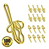 Picture Of WXJ13 100 Pack Metal Drapery Hooks Curtain Header for Window Curtain , Golden