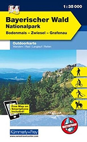 Preisvergleich Produktbild K&F Deutschland Outdoorkarte 54 Nationalpark Bayerischer Wald 1 : 35 000: Bodenmais - Zwiesel - Grafenau (Kümmerly+Frey Outdoorkarten Deutschland)