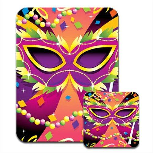 Untersetzer Perle (It 's Karneval Mayhem Zeit–Perlen, Maske & Farben Premium Mauspad und Untersetzer Set)