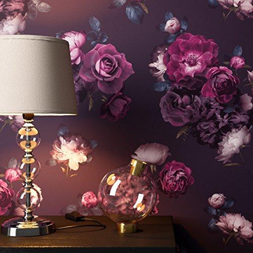 *NEWROOM Blumentapete Tapete Schwarz Rosen Blumen Floral Papiertapete Violett Papier moderne Design Optik Tapete Natur inkl. Tapezier Ratgeber*