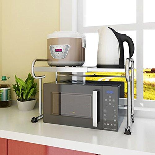 Zfgg cucina a 2 piani cucina microonde scaffale forno a pavimento multifunzione regolabile fornello di riso fornello per pane piatti acciaio inossidabile staffa, 40-65x30x45cm