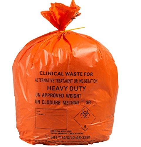 90-Liter-große, orangefarbene und belastbare Tüten für klinische Abfälle 10kg, 100