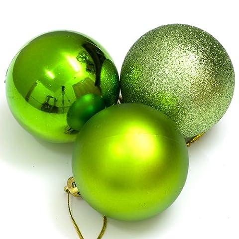 Gemischte bruchsichere Weihnachtskugeln (40mm, Apfelgrün)