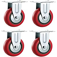 125mm fija ruedas de poliuretano (sintética rojo)–resistente–muebles, aparato y equipo ruedas por Bulldog ruedas–Max 500kg por Set