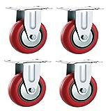 Rotelle 50mm fisso in poliuretano PU (rosso)-Heavy Duty-Ruote mobili, elettrodomestici e attrezzatura di Bulldog ruote-max 150kg per set