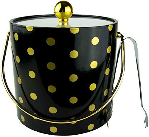 Hand Made in USA doppelwandig 3-quart Isolierte Ice Bucket mit Bonus Eiszange Black With Gold Polka Dots