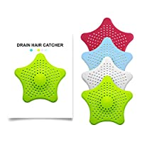 NAOR 4Pcs Silicone Sink Drain Filter Bathtub Hair Catcher Stopper Trapper Drain Hole Filter Strainer Star Shape for Bathroom Kitchen Toliet