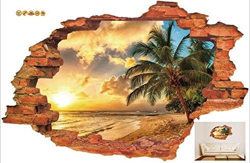 3d gebrochen wand sonnenuntergang landschaft seelandschaft insel kokospalmen haushalt schmuck können die wandaufkleber b2 40x60 cm entfernen