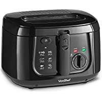 VonShef 2.5L Deep Fat Fryer with Observation Window, Adjustable Temperature Control & Removable Basket for Easy Cleaning – 1800W, Black