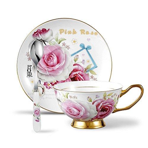 Panbado, Porzellan Kaffeeservice, 3-teilig Kaffee Set, Weiß mit Floral, mit Kaffeetasse, untertasse,und Löffel Floral Tee-set
