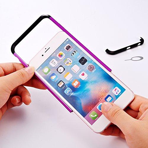 iPhone 6 / iPhone 6s 4.7 inch Hülle, Moonmini® Hybride Anti-Kratz Rahmen Bumper Stoßfest Kohlefaser Schutz Schutzhülle für iPhone 6 / iPhone 6s 4.7 inch Lila + Schwarz Rose Gold + Silber