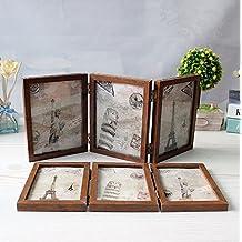 Xshelley retro Home gioielli regali, 3Solid Woodframe doppio telaio pieghevole, double-face cornice portafoto a 180gradi di rotazione, Creative studio fotografico/album, Legno, Retro 5X7