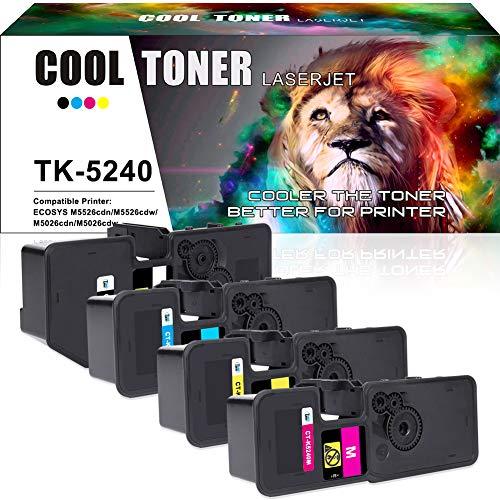 8k Gelb Toner (Cool Toner 4 Pack Kompatibel für Kyocera TK-5240 TK5240 TK-5240K TK-5240M TK-5240C TK-5240Y TK 5240K Toner für Kyocera ECOSYS M5526cdw M5526cdn M5026cdn M5026cdw M5526 (Schwarz Cyan Magenta Gelb))
