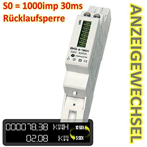 B+G E-Tech DRS155DC-V2 - LCD digitaler Wechselstromzähler Stromzähler Wattmeter mit Leistungsanzeige 5(50)A für Hutschiene mit S0 1000imp./kWh (30ms) & Rücklaufsperre