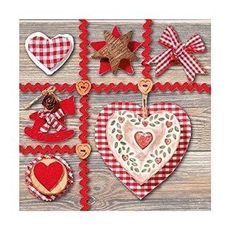 VICHY Estrella de Navidad Corazón Botón Decoración 13″X 13″ 33cm x 33cm 20 x 3 Capas Servilletas de papel