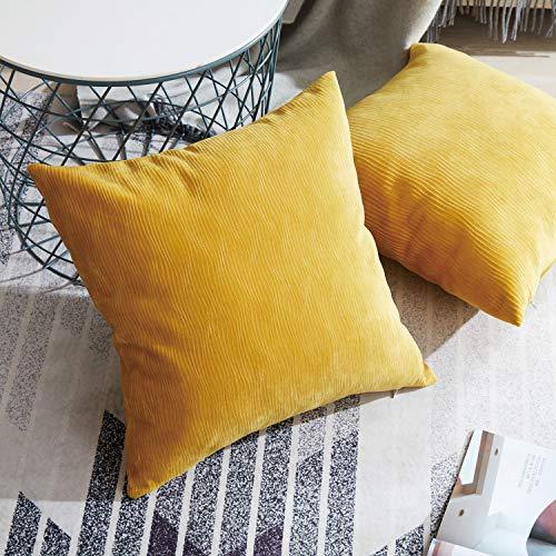 Topfinel Samt Kissenbeüge mit Reißverschluss einfärbig für Autos Wohnzimmer Schlafzimmer Sofa morderne Zierkissenbezüge 45x45cm 2er Set Gelb