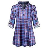 CICIYONER Frauen Plaid V-Ausschnitt Langarm Button Top,Reißverschluss Plaid V-Ausschnitt Ärmel Freizeithemd Bluse Loose Shirt